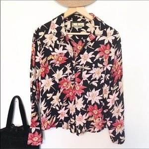 Loco Lindo button down floral long sleeve blouse